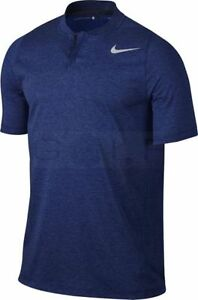 Nike TW Dry Cotton Blade Men's Standard Fit Golf Polo XL Blue Tiger Woods New