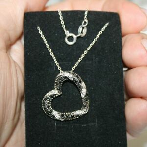 Black Diamond Alternatives Heart Pendant Necklace 14k White Gold over 925 SS