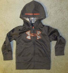 Excellent Condition Under Armour Long Sleeve Brown Zip Hoodie Jacket 4T