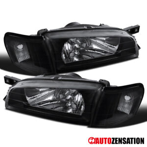 For 1995-2001 Subaru Impreza Black Clear Headlight+Corner Turn Signal Lamps Pair