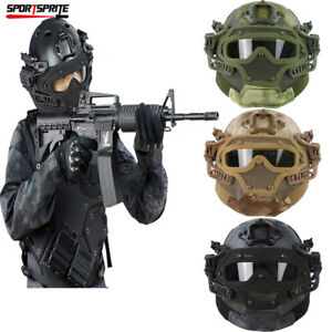 Tactical Airsoft Paintball Fast G4 SystemSet PJ Helmet Full Face Mask Goggles