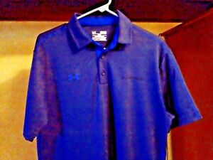 UNDER ARMOUR  Navy n Blue Polo Shirt Heat Gear Loose Men's Polo  Size MED_ S.S.