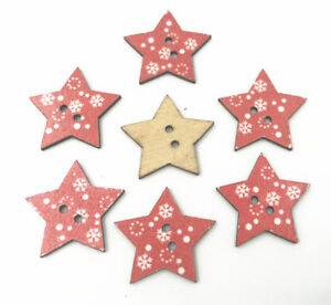 Wooden Buttons Sewing Red Star Buttons scrapbooking Christmas snowflake 25mm $1.99