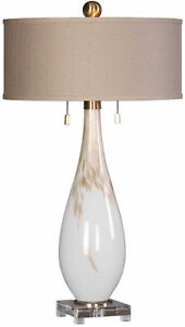 Cardoni White Glass Modern Table Lamp by Uttermost #27201