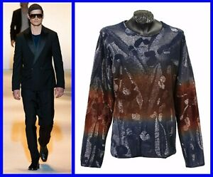 $12900 NEW VERSACE LIMITED EDITION EMBROIDERED LONG SLEEVE SWEATER SHIRT sz L