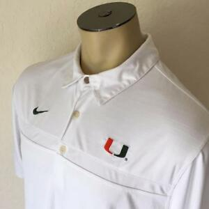 NIKE TEAM DRI-FIT Miami Hurricanes White Short Sleeve Polo Shirt Large $70