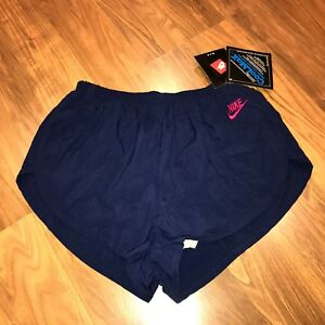 NEW Vtg 80s Navy NIKE Swoosh Logo MENS MEDIUM Nylon Running Sprinter