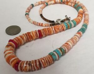 Gradual diameter spiny oyster shellturquoisecoral necklace23