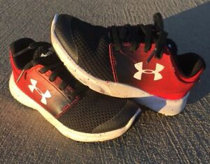 Boys Under Armour Tennis Shoes Size 12K BPS Drift RN 1288363-001 Black Red White