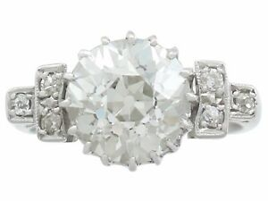 3.00 ct Diamond and 18k White Gold Dress Ring 1940s Art Deco Style Size 4.5