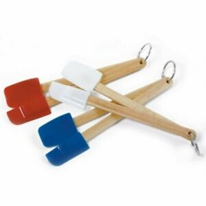 Norpro 2 pc Mini Wood Handle Silicone Kitchen Spatula Scoop Set - Blue White Red