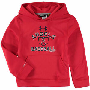 Under Armour Los Angeles Angels Youth Red Fleece Pullover Hoodie - MLB