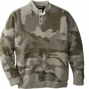 Cabela#x27;s Mens Wool Over Under Waterfowl Fatigue Outfitter Camo Sweater Windshear