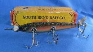 Vintage South Bend Panatella Lure in Box 915 GCB Green Crackle Back Wood Plug