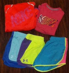 Girls UNDER ARMOUR NIKE Shirts Shorts Hoodie YS YM YL Lot of 5