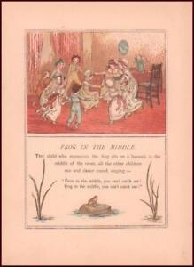 CHILDRENS GAME FROG IN MIDDLE by Kate Greenaway chromolithograph antique 1889* $25.00