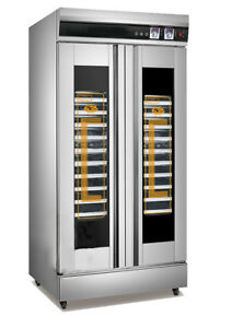 110V 2.6KW 32 Trays Stainless Steel Double Door Dough Fermenting Case Brand New
