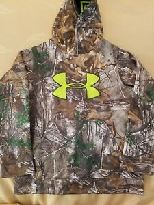 $65 Under Armour Realtree Cold Gear Camo Fleece Hooded Sweatshirt Boys YMD MED