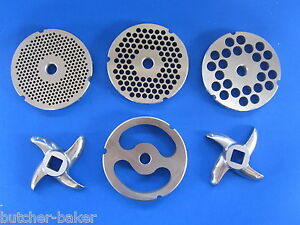 #22 6 pc SET Meat Grinding plate sausage stuffing disc knife cutter Hobart etc $82.75