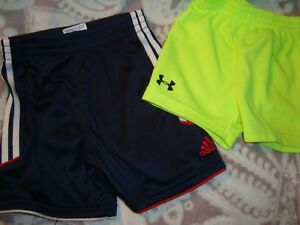 boys adidas under armour sport shorts navy and neon yellow size below lot