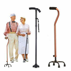 Quad Cane Small Base Bariatric 500lbs Folding Walking Stick Aid Medical Mobility $18.95