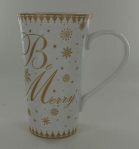 New 222 Fifth Tall China Mug Be Merry Snowflakes White with Gold $10.00