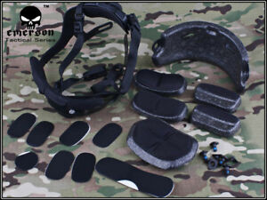 Emerson Airsoft Tactical Military Dial Liner Kit Black for MICH ACH FAST Helmet