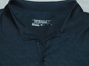 NIKE DRI FIT GOLF SHIRT FRACTURED EMBOSSED SOFT BLACK MENS XL $20.00