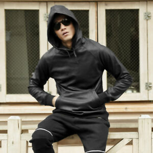 New Men Leather Sweatshirt Hoodie Pullover Jumper Coat Jacket Hip-hop Black Tops