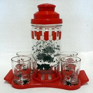 VINTAGE GLASS COCKTAIL SHAKER SET WITH 4 GLASSES AND TRAY