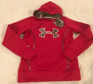 Under Armour Women's Storm1 Hoodie Sweatshirt Red with Realtree Camo Size S NWT
