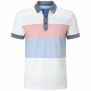 Callaway Golf Mens 2018 X Range 2018 Textured Print Stripe Stretch Polo Shirt