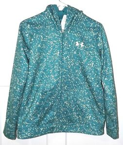 Under Armour Fleece Lined Full Zip Hoodie Jacket Youth Girls YXL Green White
