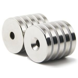 25 50 Strong Countersunk Ring Magnets 3 4quot; x1 8 quot; Hole 3mm Rare Earth Neodymium $10.99