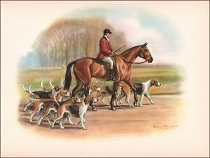 FOX HUNTING WITH HOUNDS by Edwin Megargee vintage print authentic 1946