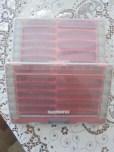 2 SHIMANO FLOATING FISH LURE CASE TACKLE STORAGE BOX RED CRANK BAIT SHM37CB