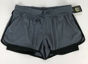 C9 Champion Womens XL Mesh Workout Shorts With Inner shorts lining Gray Black