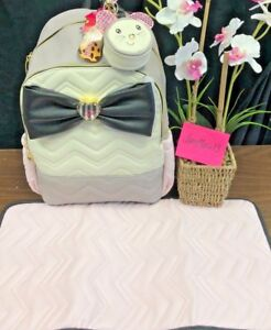 NEW! BETSEY JOHNSON DIAPER BAG BACKPACK WEEKENDER LUGGAGE WITH BOW