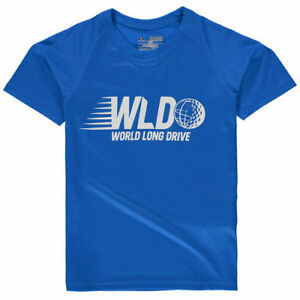 Under Armour World Long Drive Youth Light Blue Performance Tech T-Shirt