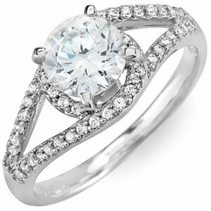 Round Cut 14k Gold Halo Design GIA Certified Diamond Engagement Ring 2.00 Carat