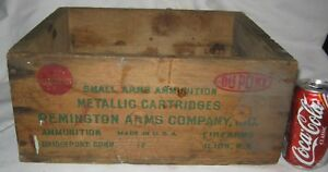 ANTIQUE REMINGTON ARMS GUN RIFLE BULLET AMMUNITION WOOD BOX CRATE DUPONT CT USA