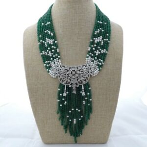 19quot; 9 Strands Green JadeFreshwater Cultured White PearlNecklace CZ Pendant