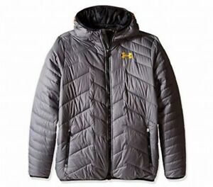 Under Armour NEW Gray Boy's Size XL $124 Puffer Hooded Jacket Outerwear #538