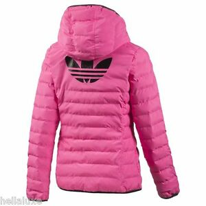 Adidas TREFOIL QUILTED HOODED JACKET Hoody Sweat shirt supergirl Top~Women sz XL
