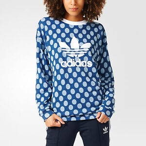 NWT~Adidas TREFOIL SWEAT SHIRT Polka Dot Allover Print SWEATER Top~Womens sz Med