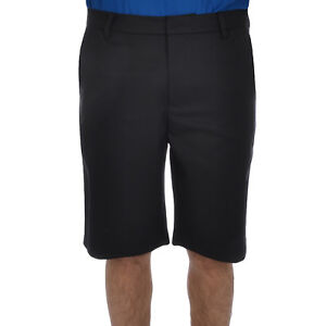 Ashworth Mens Synthetic Stretch Solid Flat Front Golf Shorts - Black