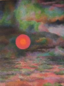 "GRACE WOOD HERRING Amer quot;Cloud Color Sun ""Ca1950 Oil Abstract Oil Framed $495.00"