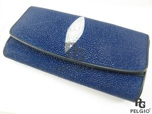 PELGIO Real Genuine Stingray Skin Leather Women Trifold Clutch Wallet Purse Blue