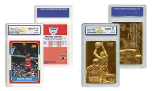 KOBE Bryant Gold & Michael JORDAN Decade Fleer Rookie Cards Set Graded Gem 10