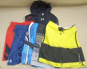LOT 6 BOYS UNDER ARMOUR BILLABONG BATHING SUITS SHORTS HOODIE YOUTH M SZ 25 YMD